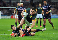 Jesse Kriel of South Africa  looks to reach the USA try-line. Rugby World Cup Pool B match between South Africa and the USA on October 7, 2015 at The Stadium, Queen Elizabeth Olympic Park in London, England. Photo by: Patrick Khachfe / Onside Images