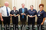 Receiving their Long Service Medals at the Kerry Civil Defense Open Night and Recruitment Drive on Monday night in the Ring of Kerry Hotel were l-r; Tom Brosnan(CDO Kerry Civil Defense), Cornelia Lyne(10 years), Ted Kennedy(20 years), Ursula O'Sullivan(10 years) & Annemarie Lynch(Area Officer & Instructor KCD).