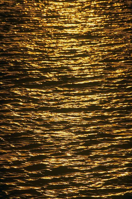 Abstract of gold reflection of setting sun on water. Zanzibar, Tanzania.