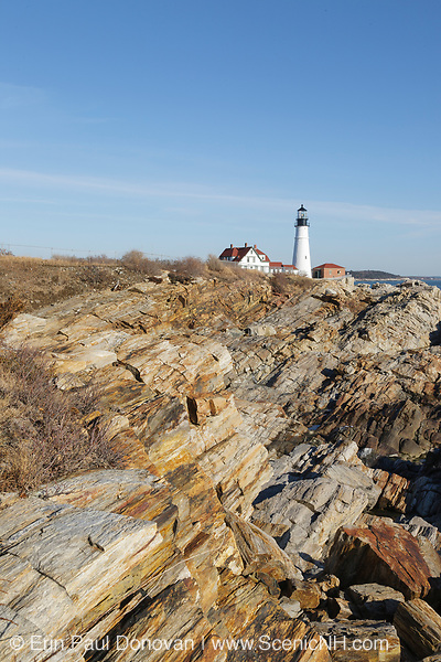 Portland Head Light at Fort Williams Park during the winter months. Located in Cape Elizabeth, Maine, Portland Head Light is Maine's oldest lighthouse. It is also said to be the most photographed lighthouse in America.