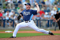 Tampa Bay Rays pitcher Neil Schenk #78 during a Grapefruit League Spring Training game against the Boston Red Sox at Charlotte County Sports Park on February 25, 2013 in Port Charlotte, Florida.  Tampa Bay defeated Boston 6-3.  (Mike Janes/Four Seam Images)