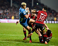 11th July 2020, Christchurch, New Zealand;  Rieko Ioane of the Blues breaks the tackle of Richie Mo'unga of the Crusaders and David Havili of the Crusaders fro a try during the Super Rugby Aotearoa, Crusaders versus Blues, at Orangetheory Stadium, Christchurch
