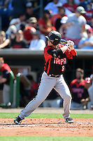 Tampa Spartans outfielder Casey Scoggins (8) at bat during an exhibition game against the Philadelphia Phillies on March 1, 2015 at Bright House Field in Clearwater, Florida.  Tampa defeated Philadelphia 6-2.  (Mike Janes/Four Seam Images)