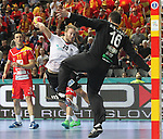20.01.2013 Barcelona, Spain. IHF men's world championship, eighth.final. Picture show Kevin Schnidt in action during game between Germany  vs FYRO Macedonia at Palau st Jordi