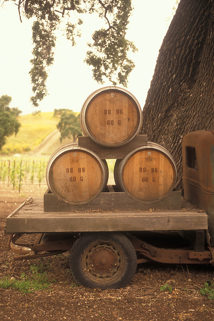 Wine barrels on winery truck near Santa Barbara