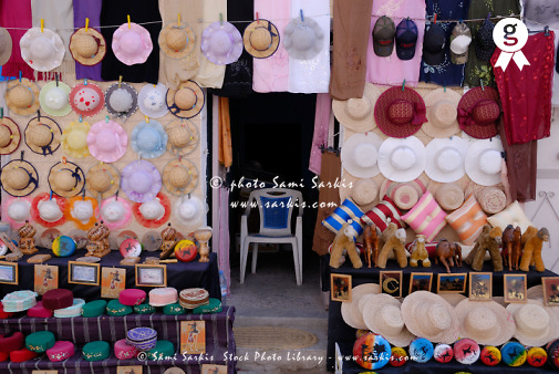 Tunisia, hop Display of hats and crafts for sale (Licence this image exclusively with Getty: http://www.gettyimages.com/detail/sb10069714bp-001 )