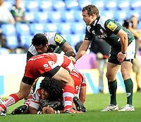 Aviva Premiership Rugby Round 3 London Irish vs Gloucester Rugby from the Madejski Stadium, Reading, England.19.09.2010.Lesley Vainikolo of Gloucester Rugby happy to get the ball away.