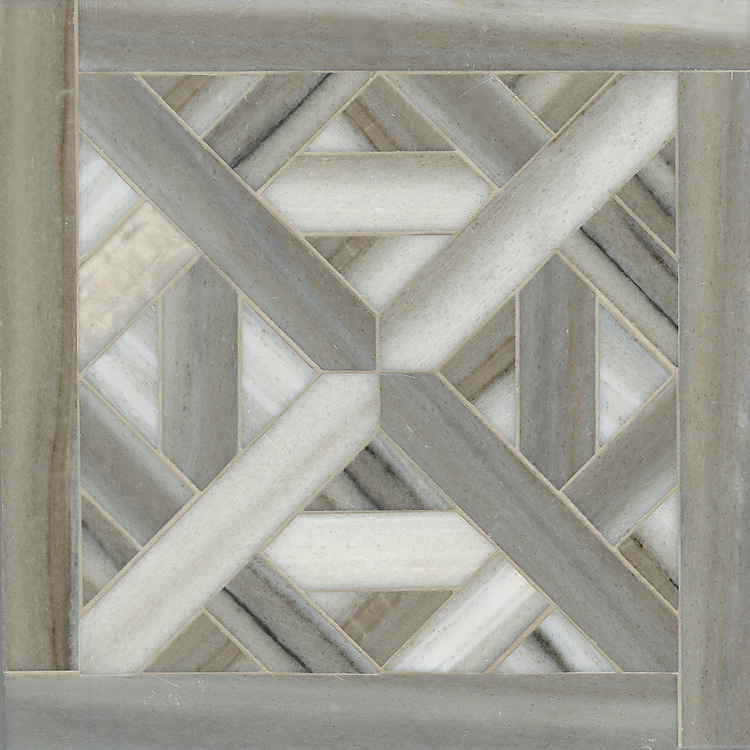 Marshall, a natural stone waterjet mosaic shown in Cashmere vein cut honed, is part of the Parquet Line by New Ravenna.