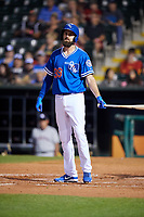 Oklahoma City Dodgers pinch hitter Scott Van Slyke (39) at bat during a game against the Colorado Springs Sky Sox on June 2, 2017 at Chickasaw Bricktown Ballpark in Oklahoma City, Oklahoma.  Colorado Springs defeated Oklahoma City 1-0 in ten innings.  (Mike Janes/Four Seam Images)