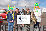 ST PATRICK'S DAY: Eoghan Ryan and Eric Witkwski of Kingdom Falconry, Craic Cave with a Harris Hawk and Eagle Owl at the Castleisland St Patrick's Day Parade l-r: Jeremiah Flynn, Eoghan Ryan, Eric Witkwski and Danielle Flynn.
