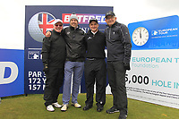 Dennis Taylor (AM), Mark Williams (AM), Paul Dunne (IRL) and John Parrott (AM) on the 10th tee during the Pro-Am of the Betfred British Masters 2019 at Hillside Golf Club, Southport, Lancashire, England. 08/05/19<br /> <br /> Picture: Thos Caffrey / Golffile<br /> <br /> All photos usage must carry mandatory copyright credit (© Golffile | Thos Caffrey)