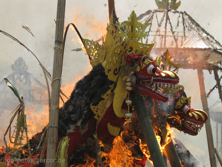 red dragons burning - cremation ceremonies in Tampak Siring in process, village of horn carving art, central Bali, archipelago Indonesia, August 2009