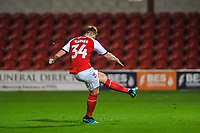 Fleetwood Town's midfielder Ged Garner (34) scores the second penalty during the The Leasing.com Trophy match between Fleetwood Town and Liverpool U21 at Highbury Stadium, Fleetwood, England on 25 September 2019. Photo by Stephen Buckley / PRiME Media Images.
