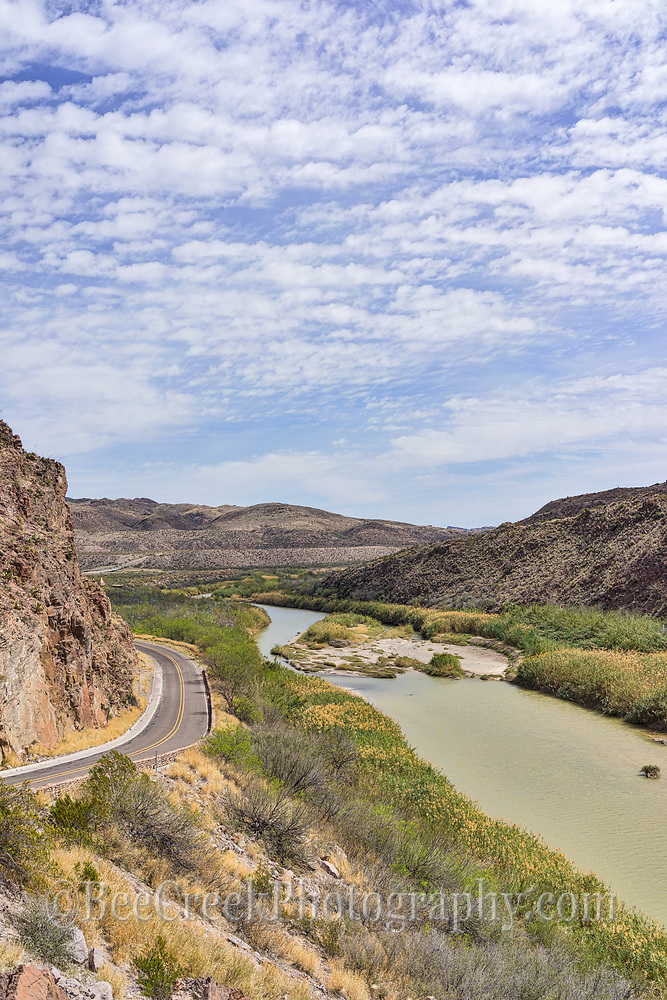 Another scenic view of Rio Grande River in Big Bend State Park as it runs along the river road in a vertical format.