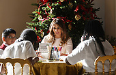 First Lady Melania Trump participates in arts and crafts projects with children and students from Joint Base Andrews in the East Wing of the White House in Washington, DC, November 27, 2017.<br /> Credit: Olivier Douliery / Pool via CNP
