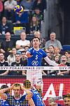 24.02.2019, SAP Arena, Mannheim<br /> Volleyball, DVV-Pokal Finale, VfB Friedrichshafen vs. SVG LŸneburg / Lueneburg<br /> <br /> Aufschlag / Service David Sossenheimer (#5 Friedrichshafen)<br /> <br />   Foto © nordphoto / Kurth
