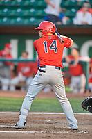 Connor Fitzsimons (14) of the Orem Owlz bats against the Ogden Raptors at Lindquist Field on August 3, 2018 in Ogden, Utah. The Raptors defeated the Owlz 9-4. (Stephen Smith/Four Seam Images)