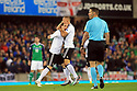 Germany's Joshua Kimmich hugs Sebastian Rudy after he scored the first goal against Northern Ireland in the opening minutes during the FIFA World Cup 2018 Qualifying Group C qualifying soccer match between Northern Ireland and Germany at the National Football Stadium at Windsor Park, Belfast, Northern Ireland, 5 Oct 2017. Photo/Paul McErlane