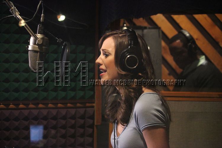 """Laura Osnes & Phumzile Sojola in the studio recording for the Original Broadway Cast Recording of Broadway's """"Rodgers & Hammerstein's Cinderella? at MSR Studios in New York City on 3/18/2013"""