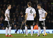 31st October 2017, Craven Cottage, London, England; EFL Championship football, Fulham versus Bristol City; Tom Cairney of Fulham, Stefan Johansen of Fulham and Kevin McDonald of Fulham looking dejected inside the centre circle before the start of the 2nd half