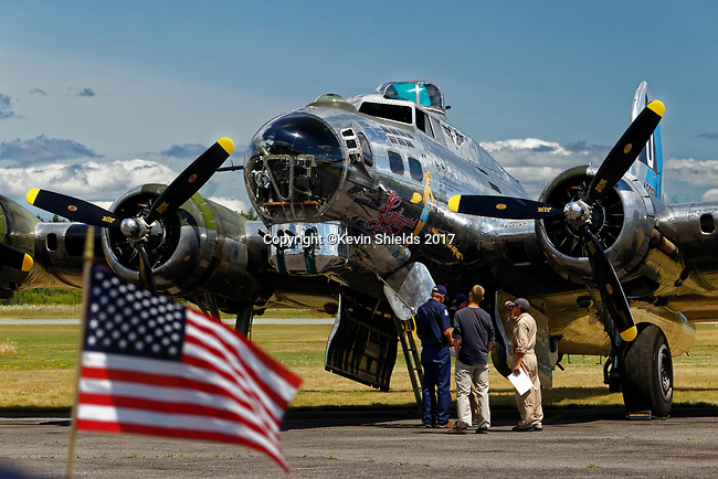 B-17 Bomber Sentimental Journey at the Owls Head Transportation Museum, Owls Head, Maine, USA