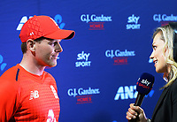 Skysport's Laura McGoldrick interviews England captain Eoin Morgan after the 4th Twenty20 International cricket match between NZ Black Caps and England at McLean Park in Napier, New Zealand on Friday, 8 November 2019. Photo: Dave Lintott / lintottphoto.co.nz
