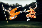 Two Shaolin warrior monks in orange traditional robes fighting with weapons staff and broad sword