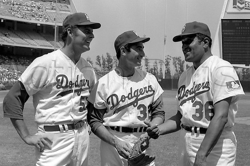 Circa 1960's:  Don Drysdale, Sandy Koufax and Don Newcombe of the Los Angeles Dodgers at Dodger Stadium in Los Angeles, CA.