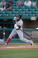 Salt Lake Bees third baseman Jose Miguel Fernandez (9) at bat during a Pacific Coast League game against the Fresno Grizzlies at Chukchansi Park on May 14, 2018 in Fresno, California. Fresno defeated Salt Lake 4-3. (Zachary Lucy/Four Seam Images)