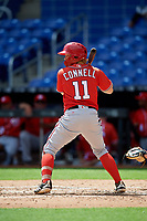 Washington Nationals Justin Connell (11) at bat during a Florida Instructional League game against the Miami Marlins on September 26, 2018 at the Marlins Park in Miami, Florida.  (Mike Janes/Four Seam Images)