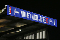 Welcome to Maldon & Tiptree FC signage ahead of Maldon & Tiptree vs Newport County, Emirates FA Cup Football at the Wallace Binder Ground on 29th November 2019