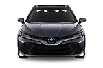 Car photography straight front view of a 2019 Toyota Camry XLE Hybrid 4 Door Sedan