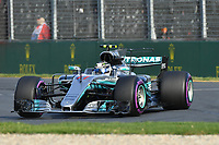 March 26, 2017: Valtteri Bottas (FIN) #77 from the Mercedes AMG Petronas team rounds turn one at the 2017 Australian Formula One Grand Prix at Albert Park, Melbourne, Australia. Photo Sydney Low