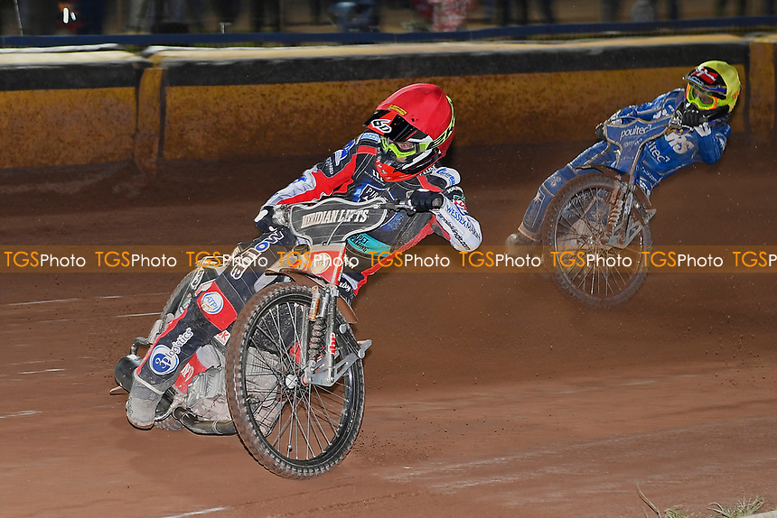 Nicoloai Klindt of Poole Pirates leads Michael Palm Toft of King's Lynn Stars in Heat 12 during Poole Pirates vs King's Lynn Stars, SGB Premiership Shield Speedway at The Stadium on 11th April 2019