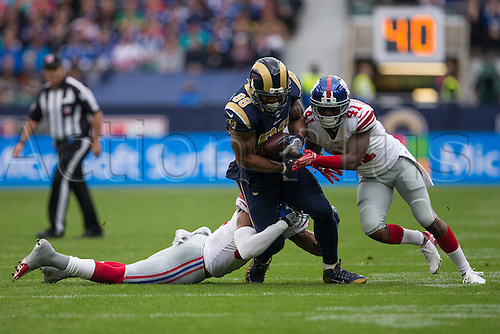 23.10.2016. Twickenham, London, England. NFL International Series. New York Giants versus LA Rams. Los Angeles Rams tight end Lance Kendricks and New York Giants defensive back Dominique Rodgers-Cromartie.
