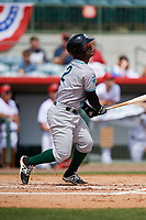 Daytona Tortugas second baseman Dilson Herrera (2) follows through on a swing during a game against the Florida Fire Frogs on April 8, 2018 at Osceola County Stadium in Kissimmee, Florida.  Daytona defeated Florida 2-1.  (Mike Janes/Four Seam Images)