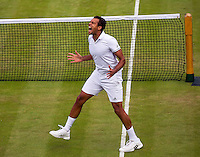 London, England, 3 July, 2016, Tennis, Wimbledon, Jo-Wilfried Tsonga (FRA) celebrates his win over  John Isner (USA) after 19-17 in the fifth set<br /> Photo: Henk Koster/tennisimages.com