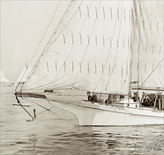 "Chesapeake Bay Skipjack America sails again in Bill Peterson's digitally restored sepia image from the 1967 Deal Island Skipjack race. One of  the Limited Edition Skipjack prints from the Fine Art ""Skipjack Sunday"" collection."