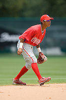 Shortstop Edgar Duran #58 of the GCL Phillies on defense versus the GCL Braves at Disney's Wide World of Sports Complex, July 13, 2009, in Orlando, Florida.  (Photo by Brian Westerholt / Four Seam Images)