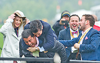 BALTIMORE, MD - MAY 21: Connections for the winning horse Exaggerator #5, ridden by Kent Desormeaux, celebrate after his win in the Preakness Stakes at Pimlico Race Course on May 21, 2016 in Baltimore, Maryland. (Photo by Scott Serio/Eclipse Sportswire/Getty Images)