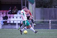 George Purcell of Hornchurch has a shot at goal  - AFC Hornchurch vs Bognor Regis Town - Ryman League Premier Division Football at The Stadium, Bridge Avenue, Upminster - 07/02/15 - MANDATORY CREDIT: Mark Hodsman/TGSPHOTO - Self billing applies where appropriate - contact@tgsphoto.co.uk - NO UNPAID USE