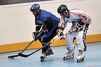 CALI – COLOMBIA – 30-07-2013: Partido de Hockey en Linea entre Italia y Estados Unidos durante los IX Juegos Mundiales Cali, julio 30 de 2013. (Foto: VizzorImage / Luis Ramirez / Staff). Match of Hockey in Line between Italy an United States in the IX World Games Cali, July 30, 2013. (Photo: VizzorImage / Luis Ramirez / Staff).