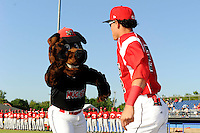 Batavia Muckdogs mascot Homer high fives outfielder Yefri Perez #12 before a game against the Auburn Doubledays on June 18, 2013 at Dwyer Stadium in Batavia, New York.  Batavia defeated Auburn 10-2.  (Mike Janes/Four Seam Images)