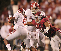 NWA Media/Michael Woods --10/11/2014-- w @NWAMICHAELW...University of Arkansas defensive tackle Darius Philon puts the pressure on Alabama quarterback Blake Sims in the 4th quarter of Saturdays game at Razorback Stadium in Fayetteville.