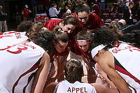 30 December 2007: Jillian Harmon, Jayne Appel, Rosalyn Gold-Onwude, Hannah Donoghe, Ashley Cimino, Hannah Donoghe, Morgan Clyburn and Jeanette Pohlen during Stanford's 77-42 win over the University of Washington at Maples Pavilion in Stanford, CA.