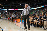 01 APRIL 2012:  Head Coach Geno Auriemma of the University of Connecticut reacts to a turnover against Notre Dame during the final seconds of regulation at the Division I Women's Final Four Semifinals at the Pepsi Center in Denver, CO.  Notre Dame defeated UCONN 83-75 to advance to the national championship game.  Jamie Schwaberow/NCAA Photos