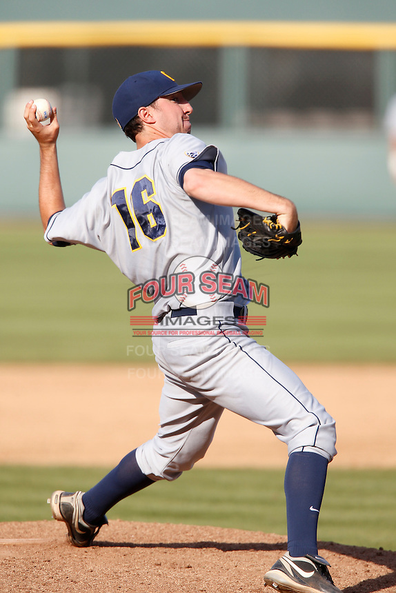 Kyle Porter #16 of the California Golden Bears pitches against the UCLA Bruins at Jackie Robinson Stadium on March 23, 2013 in Los Angeles, California. (Larry Goren/Four Seam Images)
