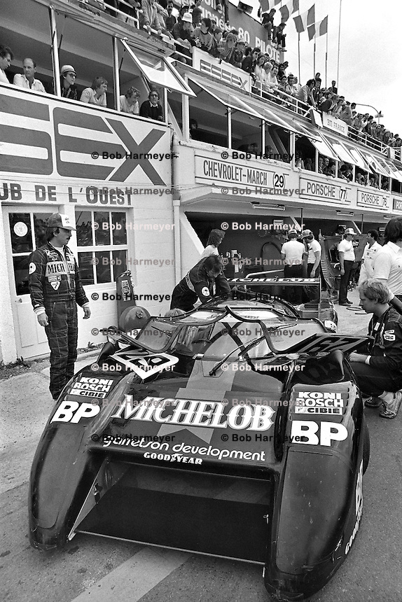 LE MANS, FRANCE - JUNE 20: Bobby Rahal (left) stands beside his March 82G 1/Chevrolet before practice for the 24 Hours of Le Mans on June 20, 1982, at Circuit de la Sarthe near Le Mans, France.