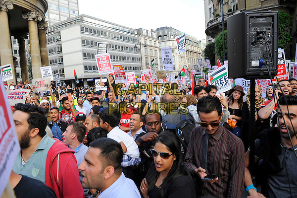 LONDON, ENGLAND - JULY 15: Pro Palestine demonstrators outside the BBC protesting against the lack of television coverage and injustice on Gaza by the BBC on July 15 in London, England.<br /> CAP/MAR<br /> &copy; Martin Harris/Capital Pictures