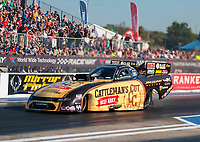 Sep 27, 2019; Madison, IL, USA; NHRA funny car driver Jim Campbell during qualifying for the Midwest Nationals at World Wide Technology Raceway. Mandatory Credit: Mark J. Rebilas-USA TODAY Sports
